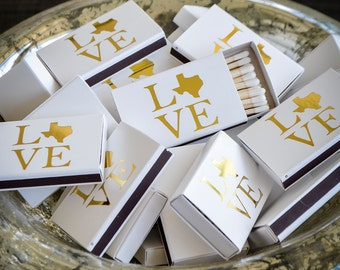 Texas Love Personalized Wedding Matches, Sparkler Matches, Personalized Wedding Matchbooks, Custom Matchboxes