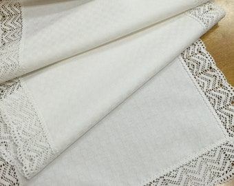 Table Runner White Lace Cotton 42 inches Table top