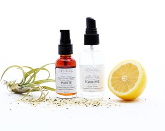 Combination + Oily + Acne Prone Skin Gift Set Facial Toner + Serum. Face Serum. Face Oil. Floral Water Toner. Spa Gift Set. For Her