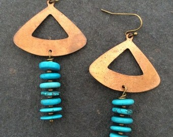 Vintage Copper and Natural Turquoise Statement Earrings