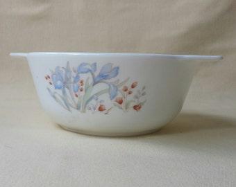 PYREX ~ Blue Iris ~ England ~ Nesting Casserole Dish ~ Vintage ~ Small ~ 1980's ~ White PYREX Bowl ~ Penny Lane Treasures