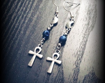 Silver Ankh and Crescent Moon Earrings with Indigo Blue Crystal Geode Beads