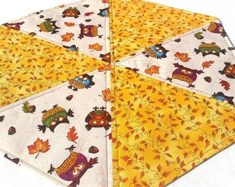 Fall Leaves and Owls Table Topper: quilted hexagon topper, reversible fall décor centerpiece, cream and brown scrolls quilted candle mat