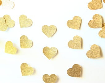 Gold Heart Garland, Gold Glitter Garland, Party Decoration, Photo Prop, Gold Glitter Wedding, Wedding Decor, Birthday Party, Baby Shower