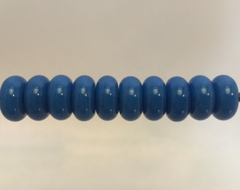 """Blue """"cobalt"""" Lampwork Glass Bead Spacers Donut MADE TO ORDER"""