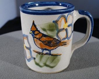 Vintage Signed Louisville Stoneware Kentucky Bold Heavy Flower Bird Design Mug Cup