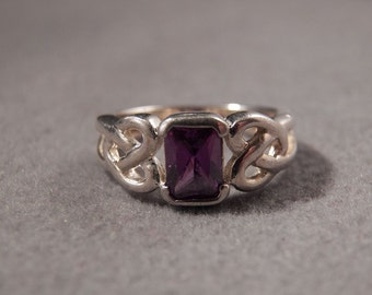Vintage Sterling Silver Large Rectangle African Amethyst Fancy Celtic Knot Irish Design Band Ring, Size 6       **RL