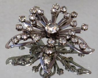 Atomic Rhinestone Flower Brooch Pin Wedding Jewelry - Special Occasion