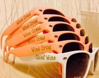 Wine Crew/Chief Wino Sunglasses for Bachelorette/Beach Party/Bride's Last Ride