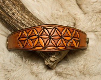 Flower of Life Sacred Geometry Leather Bracelet