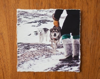 Inuit Husky and their Master 9x9 inch giclee fine art photography print with torn edge