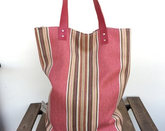 Shopper bag Autumn bag Striped Red Fabric