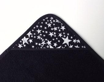 Black baby bathcape with stars