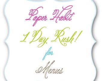 1 Day RUSH Fee for Menus