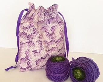 Knitting/Crochet Project Bag - Cotton, Drawstring (Medium)