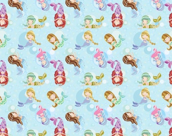 Mermaids on cotton lycra jersey knit fabric - UK seller