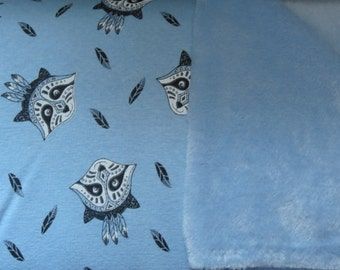 Blue Plush Backed Raccoons on cotton lycra jersey knit fabric - UK seller