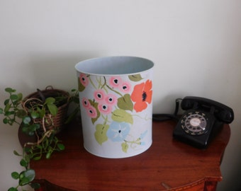 Vintage Hand Painted Floral Metal Waste Basket, Garbage Can, Trash Can, Aqua with Hand Painted Floral Design, Morning Glory, Poppies, Roses