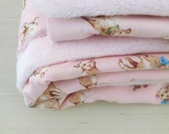 Vintage Lamb Baby Blanket- Soft Minky and Pink