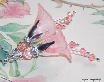 Pink Flower Earrings, Bridal Earrings, Wedding Earrings, Drop Earrings, Peach Pink Lucite Flower Earrings, Wedding Jewellery, Handmade