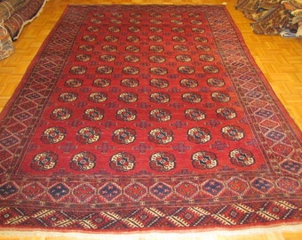 7 x 10 Beautiful Antique Hand Knotted Russian Turkomen Rug #119