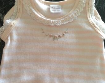 Baby Willow onesie/ ballet pink stripe