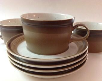 Mikasa Potters Art Japan, Ben Seibel Design, Buckskin PF012, Vintage Stoneware Cups, Saucers, Set of 4