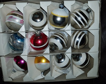 Vintage Box of 12 Mica Mercury Glass Christmas Ornaments