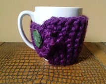 Deep Purple Coffee Mug Cozy- Purple Coffee Cup Cozy- Knitted Coffee Cup Cozy- Cozy with Green Wood Button