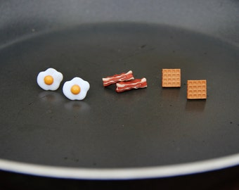 Breakfast Special: Bacon, Eggs, or Waffle Earrings!!