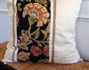 Cream and Black Pillow Cover, 22 x 22 inch Pillow Cover, Black Floral Pillow Cover, Cream Pillow Cover, Flower Pillow Cover
