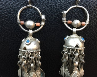 Ethnic tribal Unique earring is from the uzbek orijinal old coral and turquaz stone earring handmade Traditional