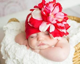 Cotton Peony Hat - Baby Girl Cotton Hat - Baby Hat - Flower Hat - Baby - Flower Beanie - Newborn Winter Hat - Newborn Photo Prop - Beanie