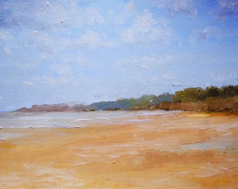 Omaha beach landscape oil original painting french art french landscape original oil french sea art normandie art french french home decor