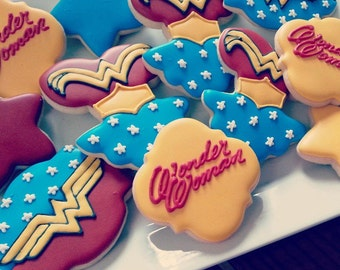 Wonder Woman Decorated Sugar Cookies