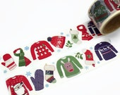 Christmas Wardrobe Wide Washi Tape by Aimez le Style - Christmas Masking Tape - Jumpers, Mittens, Scarves