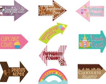 Candy Party, Candy Signs, Arrows, Candy Party Decoration, Sweet Party, Sweet Signs