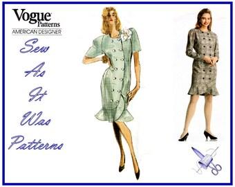 1980s Uncut Vogue 2234 American Designer Albert Nipon Double Breasted Dress Hemline Flounce Vintage Sewing Pattern Size 6 8 10 Bust 30 31 32