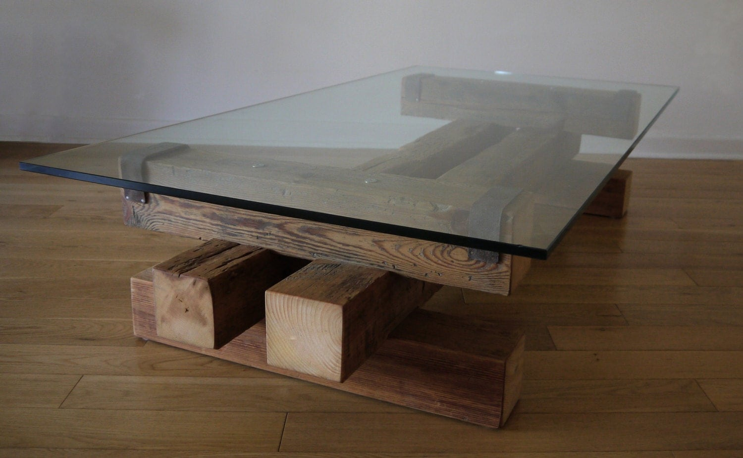 Reclaimed wood and glass coffee table barn wood coffee table for Reclaimed coffee table