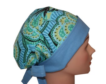 Surgical Scrub Hat Scrub Chef Doctor Vet Nurse Cap Flirty Front Fold Pixie Blue Teal Yellow Green  2nd Item Ships FREE