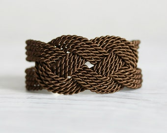 Brown Knot Bracelet, Brown Bracelet, Knot Bracelet, Rope Bracelet, Sailor Knot Bracelet ,Sailor Bracelet, Nautical bracelet,Braided Bracelet