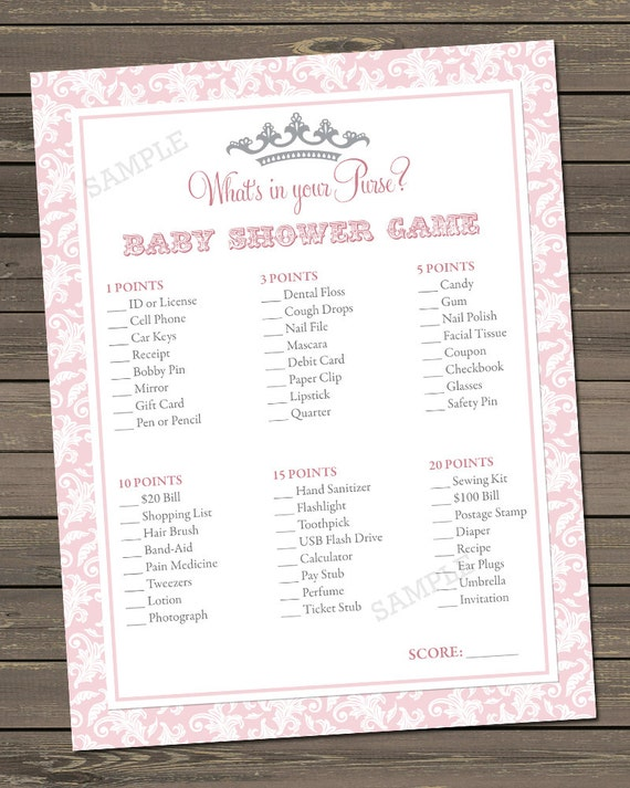 Princess Baby Shower Game, Whats in your purse game, Princess Baby ...
