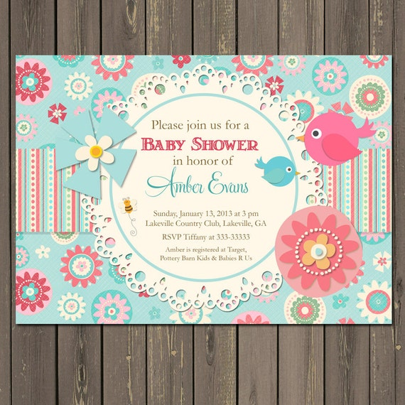 Bird Baby Shower Invitation, Birds and Flowers Feather the Nest Invitation, Pink and Blue Baby Shower Invite, Doily, printable or printed