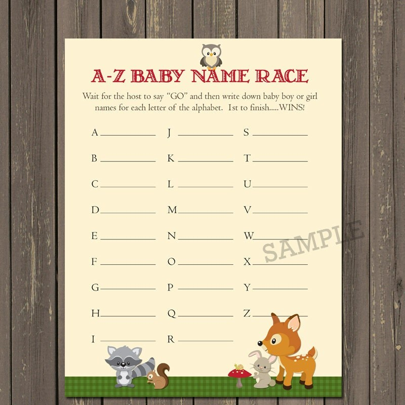 woodland baby shower game baby name game woodland animal
