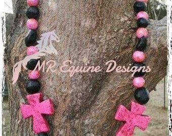 CLEARANCE ITEM - Pink, Black Beaded Necklace with Side Crosses and Matching Pink, Black Beaded Earrings