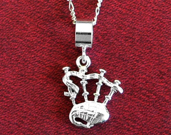 """SCOTTISH BAGPIPES 3D Pendant ~ Solid 925 Sterling Silver Pendant and 20"""" Chain"""