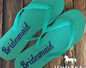 Bridesmaids Flip Flops Decals, Maid of Honor Flipflops, Bridal Party Gifts, Will You Be My Bridesmaid Invitations