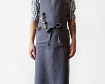Dark Grey Stone Washed Linen Chef Apron