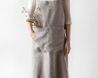 Natural Pinafore Stone Washed Linen Apron