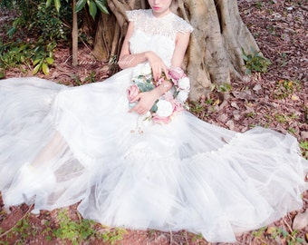 Hand made Unique Lace Top Floor Length Wedding Dress ,Beach or woodland Bridal Gown. L'Amei 2016